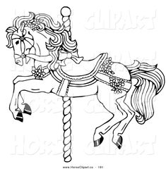 Carousel Horse Clip Art | Clip Art of a Coloring Page of a Carousel Horse Decorated in Bows and ...
