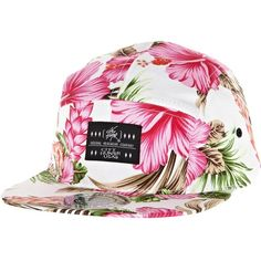 River Island White floral print 5 panel hat ($9.93) ❤ liked on Polyvore featuring accessories, hats, headwear, snapbacks, floral hat, 5 panel snapback hats, 5 panel cap, acrylic hat and white hat