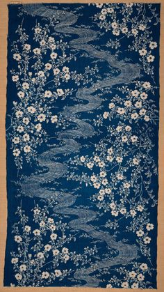 Japan ~ fragment of cotton, katazome, indigo dyed, late century ~ Motifs Textiles, Vintage Textiles, Textile Prints, Textile Patterns, Textile Design, Fabric Design, Print Patterns, Pattern Design, Japanese Textiles