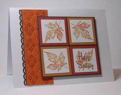 cleanly designed card with lovely autumn leaves...