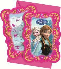 6 Einladungen mit Umschläge von Disneys Frozen Eiskönigin völlig unverfroren