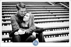 engagement portraits by stairs | black and white engagement portrait on stairs at the arcade in ...