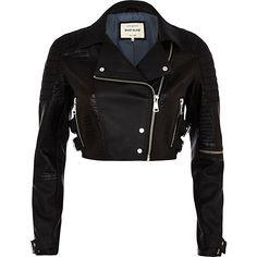 d186b250cbde Black croc panel cropped biker jacket #riverisland #monosport Cropped  Leather Jacket, Cropped Jackets