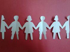 Chain of kids using paper