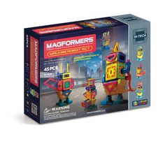 Magformers Walking Robot Set (45 PCS) - Click, connect, create! Kids will love following along with the step-by-step idea booklet to discover the possibilities of the Walking Robot Set. Build 8 walking characters using our STEAM engine block and walking accessories. Let your imagination run wild as you discover the strength of MAGFORMERS® and see what you can create! STEM education has never been so much fun!