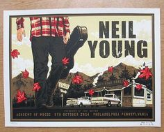 Original silkscreen concert poster for Neil Young at The Academy of Music in Philadelphia, PA in 2014. 24 x 18 inches. Signed and numbered out of 395 by the artist Blair Sayer.