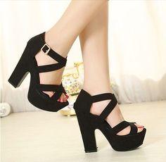 Black suede, chunky high heels #highheelswedge #promheelsblack