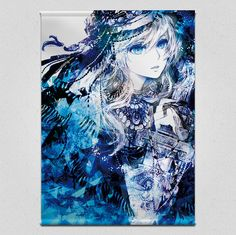 Blue Tapestry Fabric Wall Scroll by SilverComet, poster, bedroom, living room