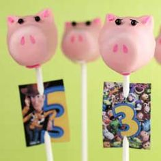 Cake pops Hamm - I must admit they were very sweet.  My son loved them.  I made about ten Hamm's and a few Mr. Potato heads then forgot to pass them out on his birthday... Doh!