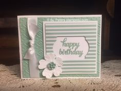 handmade birthday card by BJ Peters .... monochromatic ... window ... great sketch design ... Stampin' Up!