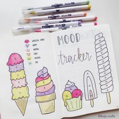 mood tracker makes me hungryyy 🤪 Colours used to track the mood are from. -July mood tracker makes me hungryyy 🤪 Colours used to track the mood are from. - Floral Wreath Illustration with Bullet Journaling Bullet Journal Tracker, Bullet Journal 2019, Bullet Journal Themes, Bullet Journal Inspo, Bullet Journal Spread, Journal Layout, Journal Pages, Creating A Bullet Journal, Bullet Journel