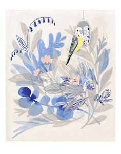 by Isabelle Arsenault Illustration Story, Botanical Illustration, Floral Illustrations, Illustrations Posters, Monochromatic Art, Art Gallery, Virginia Wolf, Inspiration Art, Oeuvre D'art