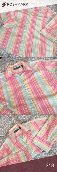 Lemon Grass Summer Button Down Lemon Grass Summer Button Down. 26% cotton 40% polyester 30% Nylon 4% spandex. Size S. Like new! So cute and breezy for summer🏝 Lemon Grass Tops