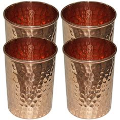 Handmade Pure Copper Hammered Tumbler Glass,Set of 4 Glasses