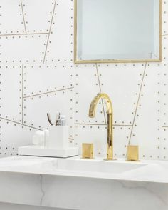 Our vintage aircraft style Aviator pattern is now available in pristine Thassos and pairs beautifully with fixtures. Gold Faucet, Tile Showroom, Artistic Tile, Tile Layout, Gold Bathroom, Aircraft Design, Tile Installation, Shower Floor, Tile Patterns