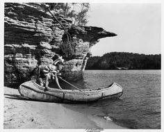 Indian and Canoe | Photograph | Wisconsin Historical Society