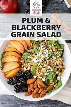 Plum and Blackbery Grain Salad Savory Salads, Healthy Salad Recipes, Clean Eating Salads, Healthy Eating, Healthy Food, Grilling Recipes, Cooking Recipes, Meal Recipes, Grain Salad