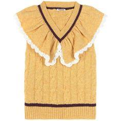 Miu Miu Ruffled Wool Sweater Vest ($1,090) ❤ liked on Polyvore featuring sweaters, tops, yellow and miu miu