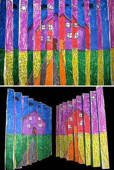 2nd grade art | 2nd grade op art landscape my second graders used oil pastels to ...