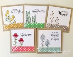 """Kathryn's Stampin' World - Stampin' Up! Flowering Fields,  Rose Wonder, 2016SaleABration, 4"""" Square Gift Box and matching Cards by Kathryn Mangelsdorf"""