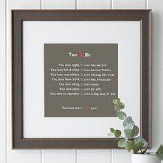 You & Me Print...very cute idea