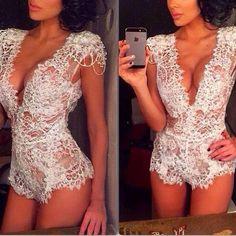 White Plain Lace Hollow-out Bodysuit lingerie Cleavage Sexy Short Jumpsuit