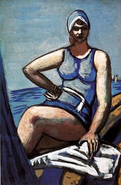 """Max Beckmann . Quappi in Blau mit Boot, 1926  It's the attitude......and her """"fullness"""" ! LUVIT"""