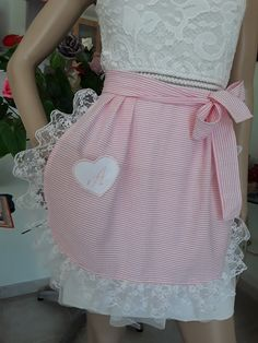 Pink white striped maid with lace all round with mini Pocket heart embroidered monogrammed large two ties to tie Half Apron Patterns, Crochet Collar Pattern, Cute Aprons, Sewing Aprons, Aprons Vintage, Apron Dress, Cotton Fabric, Sewing Projects, Clothes