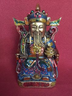 """Collectable Cloisonne hand casted """"God of Wealth"""