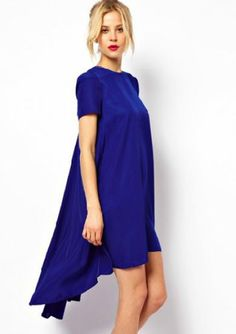 Blue Short Sleeve Split High Low Dress - Sheinside.com Mobile Site