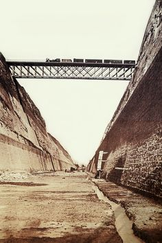 Train crossing over the Corinth Canal, Greece