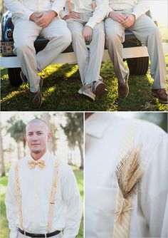super cute groomsman style  + wheat used for rustic boutonniere