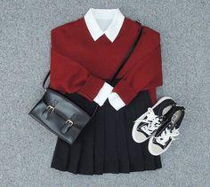 Korean Fashion Sets- Outfit ideas for Autumn . - Korean Fashion Sets- Outfit ideas for Autumn - Mode Outfits, Casual Outfits, Girl Outfits, Fashion Outfits, Fashion Sets, High Street Fashion, Look Fashion, Fashion Design, Cute Asian Fashion
