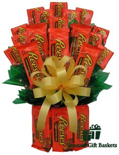 Orange flowers never looked so good. The blooms here are made of chocolate-covered peanut butter cups & Reese's™ of course! The All Reese's™ Candy Bouquet features a bouquet of double and single Reese's™ cups, topped with a big yellow bow and wrapped in cellophane.   Gift Basket Includes Medium: 4 double packs of Reese's 10 single packs of Reese's;