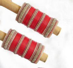 Bridal wedding chura bangles set/rhinestones by Beauteshoppe