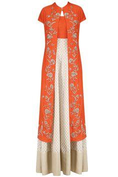 Off White and Orange Printed Kurta Set with Embroidered Jacket Latest Designer Sarees, Indian Designer Outfits, Designer Dresses, Indian Attire, Indian Wear, Abaya Fashion, Indian Fashion, Indian Dresses, Indian Outfits