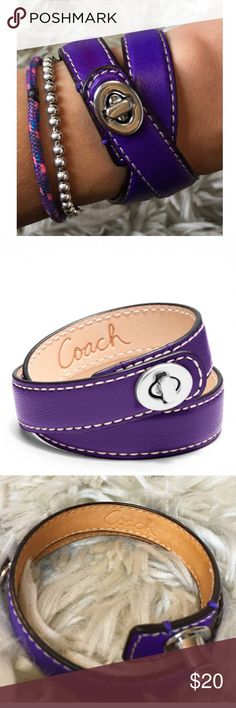 Coach Leather Wrap Bracelet Beautiful authentic Coach leather wrap bracelet with sterling silver buckle in purple  --                       Very very slight discoloration on part of the leather as seen in photo and minor under the buckle clasp Coach Jewelry Bracelets