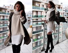 Aniko V. - H&M Pulover, H&M Dress, Bershka Coat, Bershka Boots - This weather remind me of his heart..