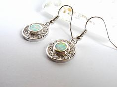 925 Sterling Silver Green Fire Opal & White Topaz by MoodTherapy