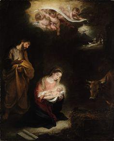 """Murillo (atribución) """"Natividad con el anuncio a los pastores  #natal"""