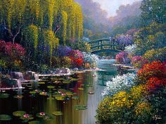 Giverny Pond - Oil Painting by Bob Pejman Fantasy Landscape, Landscape Art, Landscape Paintings, Pictures To Paint, Nature Pictures, Beautiful Paintings, Beautiful Landscapes, Kinkade Paintings, Bridge Painting