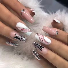 Acrylic nail art 492581277997332280 - Source by nicolerabette Best Acrylic Nails, Acrylic Nail Designs, Nail Art Designs, Design Art, Classy Nails, Stylish Nails, Simple Nails, Bling Nails, Swag Nails