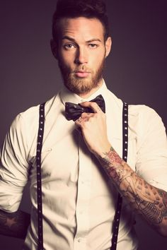 Men Fashion Billy Huxley By Darren Black and Maciek Fashion Photography Billy Huxley, Beard Tattoo, Sick Tattoo, Camo Tattoo, Hipsters, Old School Style, Look Fashion, Mens Fashion, Bowtie And Suspenders