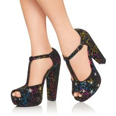 Multi colored metallic stars on black faux-suede on a T-strap platform with thick heel