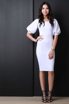 Description A midi sheath dress featuring smooth fabric with a slight sheen, a wide neckline, and mid-length bishop sleeves. Finished with vertical seams design Casual Dresses For Women, Short Sleeve Dresses, Dresses For Work, Women's Dresses, White Sheath Dress, White Dress, Modest Fashion, Fashion Outfits, Fashion Clothes