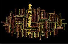 A wordle representation of The Whisky Shop product range