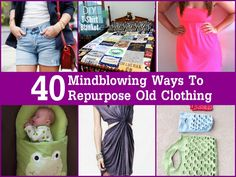 40 Mindblowing Ways To Repurpose Old Clothing | www.FabArtDIY.com LIKE Us on Facebook ==> https://www.facebook.com/FabArtDIY