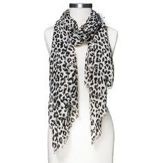 Women's Woven Leopard Print Oblong Scarf - Black - Merona, Black/White