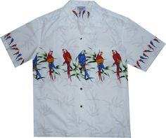 Parrot Island White Hawaiian Border Aloha Sport Shirt