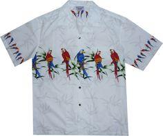 Parrot Island White Hawaiian Border Aloha Sport Shirt
